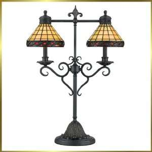 Tiffany Table Lamp, QZTF262T, 2 lights, Antique Bronze, 20