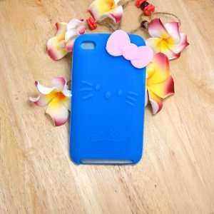 Hello Kitty blue Silicone with bow Cover Case for iPod