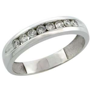 10k White Gold 8 Stone Mens Diamond Ring Band w/ 0.47 Carat Brilliant