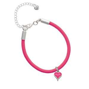 Small Long Hot Pink Heart Charm on a Hot Pink Malibu Charm Bracelet