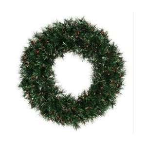 48 Pre Lit Midnight Green Artificial Christmas Wreath   Red Lights