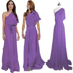 Light purple Chiffon One shoulder Long Formal Prom Gown Evening Dress