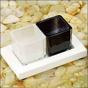 2 Square Cup White Base Candle Holder with Stand