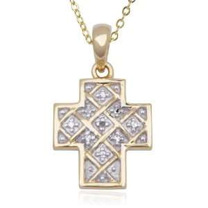 Yellow Gold Plated Sterling Silver Diamond Cross Pendant, 18 Jewelry