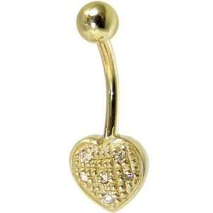 Solid 14kt Yellow Gold Genuine Diamond Paved Heart Belly Ring Jewelry