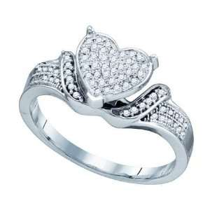 0.20cttw Diamond Ladies Micro Pave Heart Ring ( Size 7 H I
