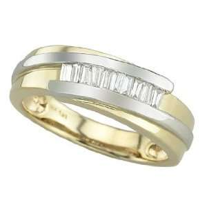 14K Two Tone Gold 0.34cttw Mens Wedding Diamond Ring Jewelry