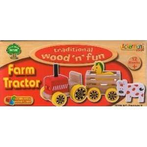 Traditional Wood N Fun Farm Tractor with Horse and Cow Toys & Games