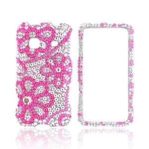 Pink Lace Flowers on Silver Gems Bling Hard Plastic Case