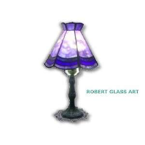 BLUE DESK LAMP, Stained Glass Art By Robert