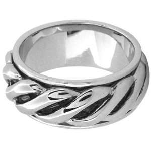 Inox Jewelry Mens Twist Rope 316L Stainless Steel Spin Ring Jewelry