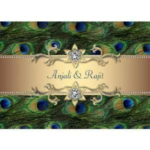 Emerald Green Gold Royal Indian Peacock Wedding Greeting