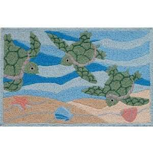 Jellybean Sea Turtle Beach Indoor Outdoor Rug
