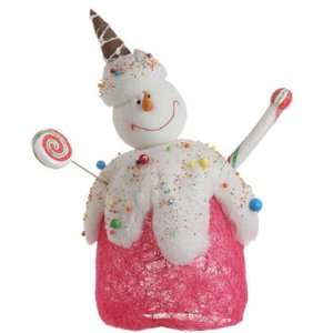 Cupcake Heaven Cheerful Pink Candy Snowman Christmas Table Top Figure