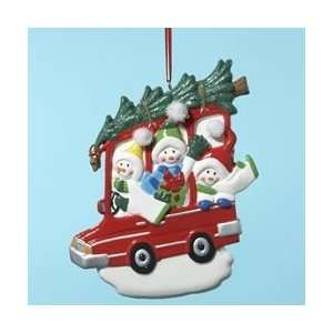 12 Happy Snowmen Family of 3 in Car Christmas Ornaments