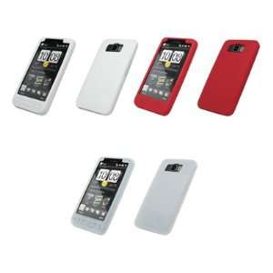 3 Pack of Soft Silicone Gel Skin Cover Cases (White, Red