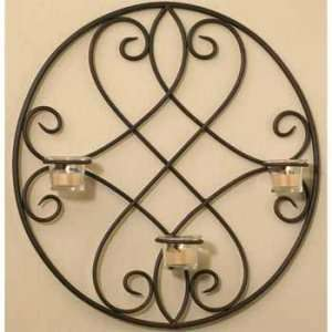 Lindsey Wrought Iron Wall Sconce tealight Holder Patio, Lawn & Garden