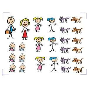 Set of 26 Stick Figure Family Decal Stickers for Your Car