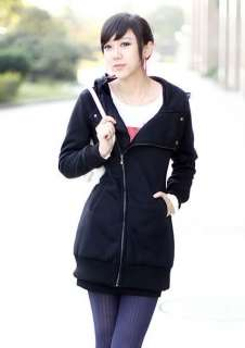 New Korean Style Womens Hooded Zipped Jackets Coats Hoodie Outerwear
