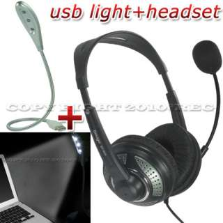 PC COMPUTER USB LED LAMP HEADSET MIC HEADPHONE EARPHONE