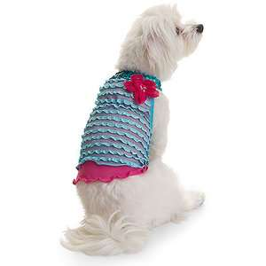 Lulu Pink   Turquoise Ruffle Halter Dress Dogs