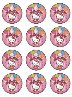 Hello Kitty edible cake image topper 12  cupcake
